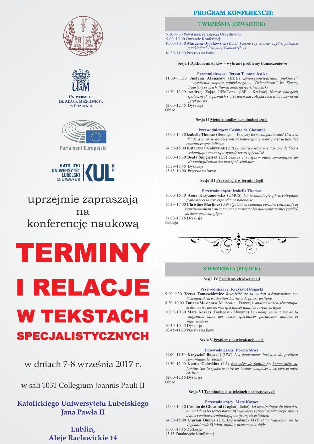 Terminy i relacje w tekstach specjalistycznych
