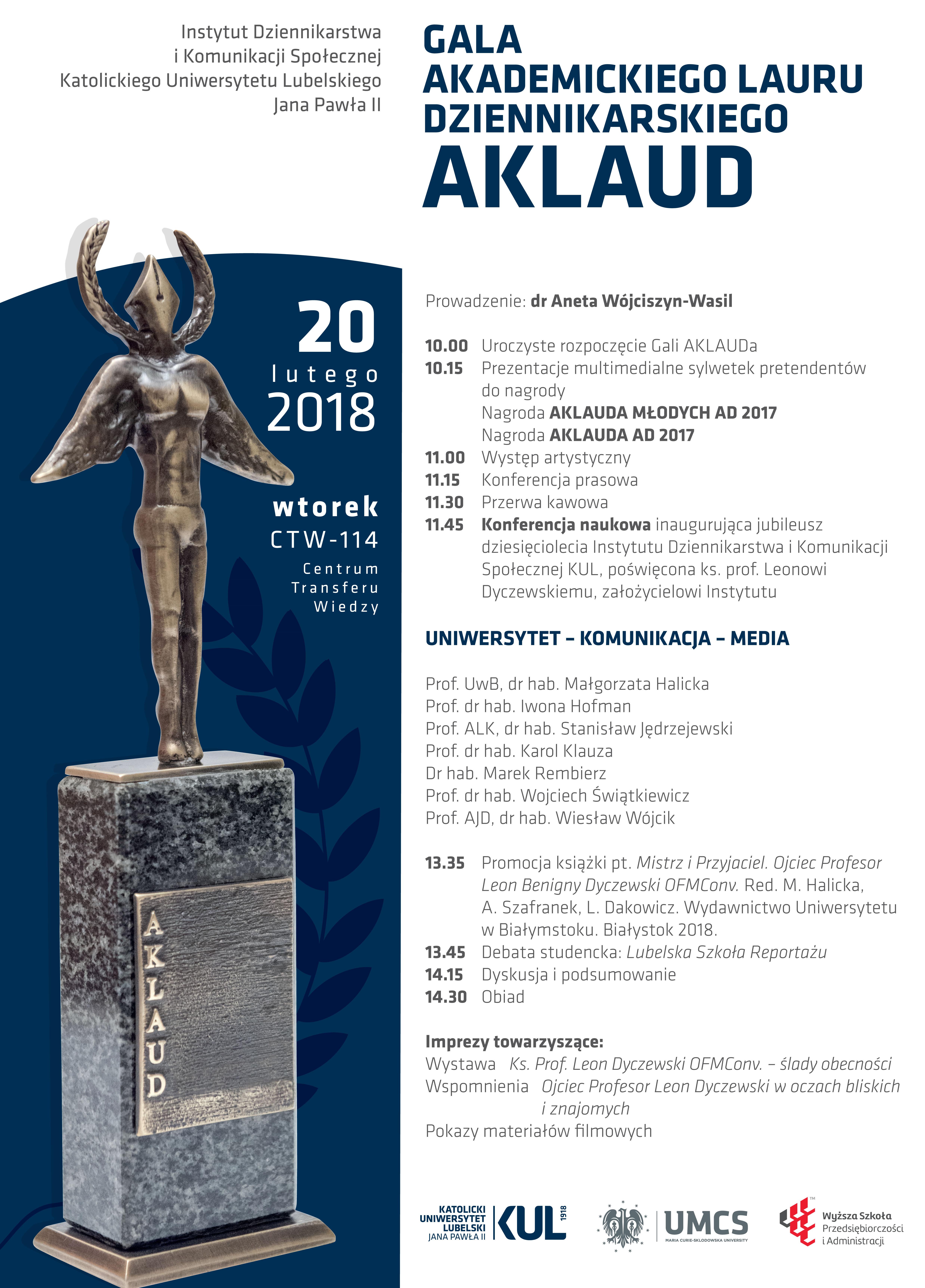Gala Akademickiego Lauru Dziennikarskiego AKLAUD