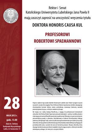 Uroczystość nadania tytułu doktora honoris causa KUL Prof. Robertowi Spaemannowi