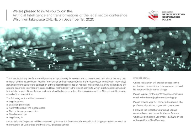 """Artificial Intelligence and Transformations of the Legal Sector Conference""."