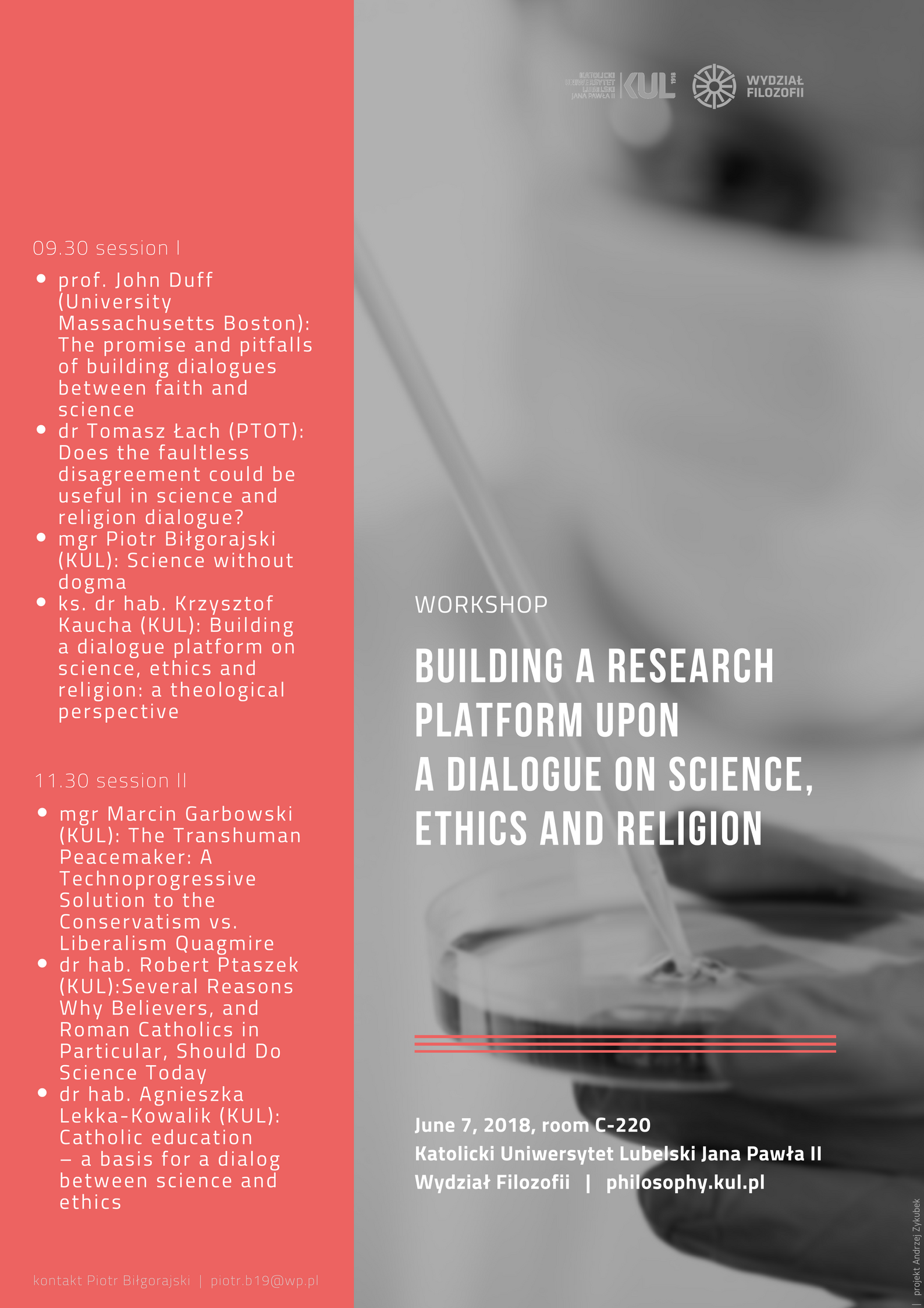 Building a Research Platform upon a Dialogue on Science, Ethics and Religion